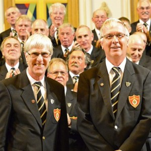 Jon Pender first tenor and John Matthews were awarded 40 year long service badges by president  Rev Julyan Drew at the Summer festival 2015